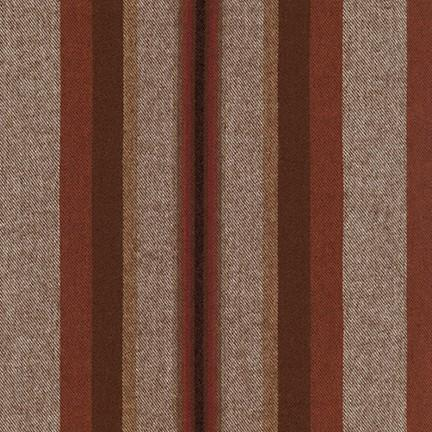Tonal Rust Red and Khaki Yarn Dyed Stripe Robert Kaufman Taos Flannel - Raspberry Creek Fabrics Knit Fabric