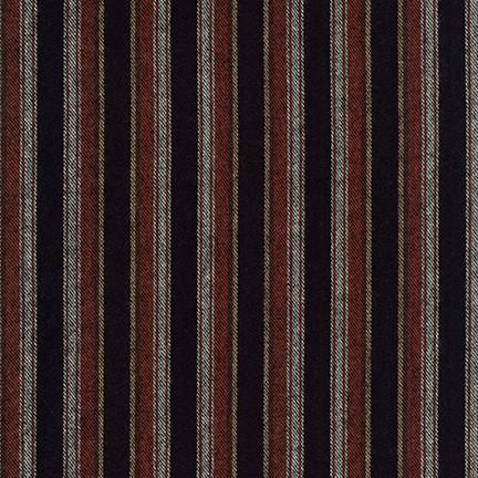 Black Burgundy Cream and White Yarn Dyed Stripe Robert Kaufman Taos Flannel - Raspberry Creek Fabrics Knit Fabric
