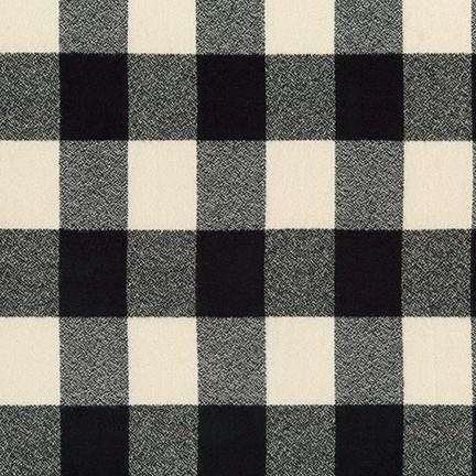 Cream and Black Robert Kaufman Mammoth Plaid Flannel - Raspberry Creek Fabrics Knit Fabric