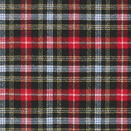 Black Yellow Red and Blue Robert Kaufman Mammoth Plaid Flannel, 1 Yard