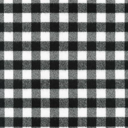 White and Black Robert Kaufman Mammoth Plaid Flannel, 1 Yard