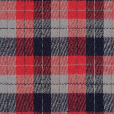 Red Grey and Navy Blue Americana Robert Kaufman Durango Plaid Flannel, 1 Yard