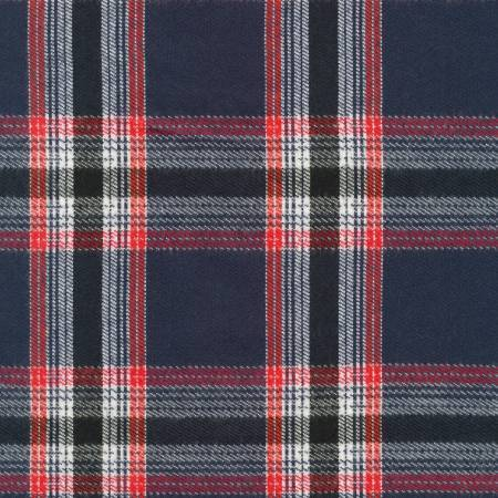 Navy Blue Black and Red Americana Robert Kaufman Durango Plaid Flannel, 1 Yard