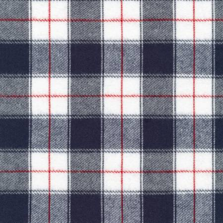 Navy Blue White and Red Americana Robert Kaufman Durango Plaid Flannel, 1 Yard - Raspberry Creek Fabrics