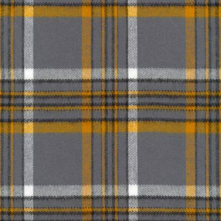 Grey Mustard and White Robert Kaufman Durango Plaid Flannel, 1 Yard