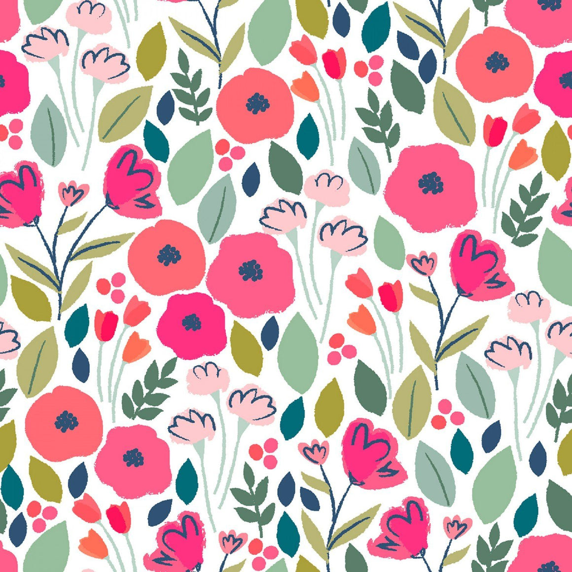 Magenta Coral Green and Pink Poppy Field Floral Cotton Spandex Jersey Knit, Dear Stella Knits Collection, 1 yard - Raspberry Creek Fabrics