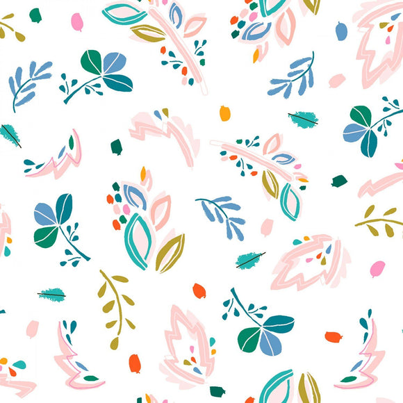 Coral Periwinkle Green and Blue Abstract Floral Cotton Spandex Jersey Knit, Dear Stella Knits Collection, 1 yard - Raspberry Creek Fabrics