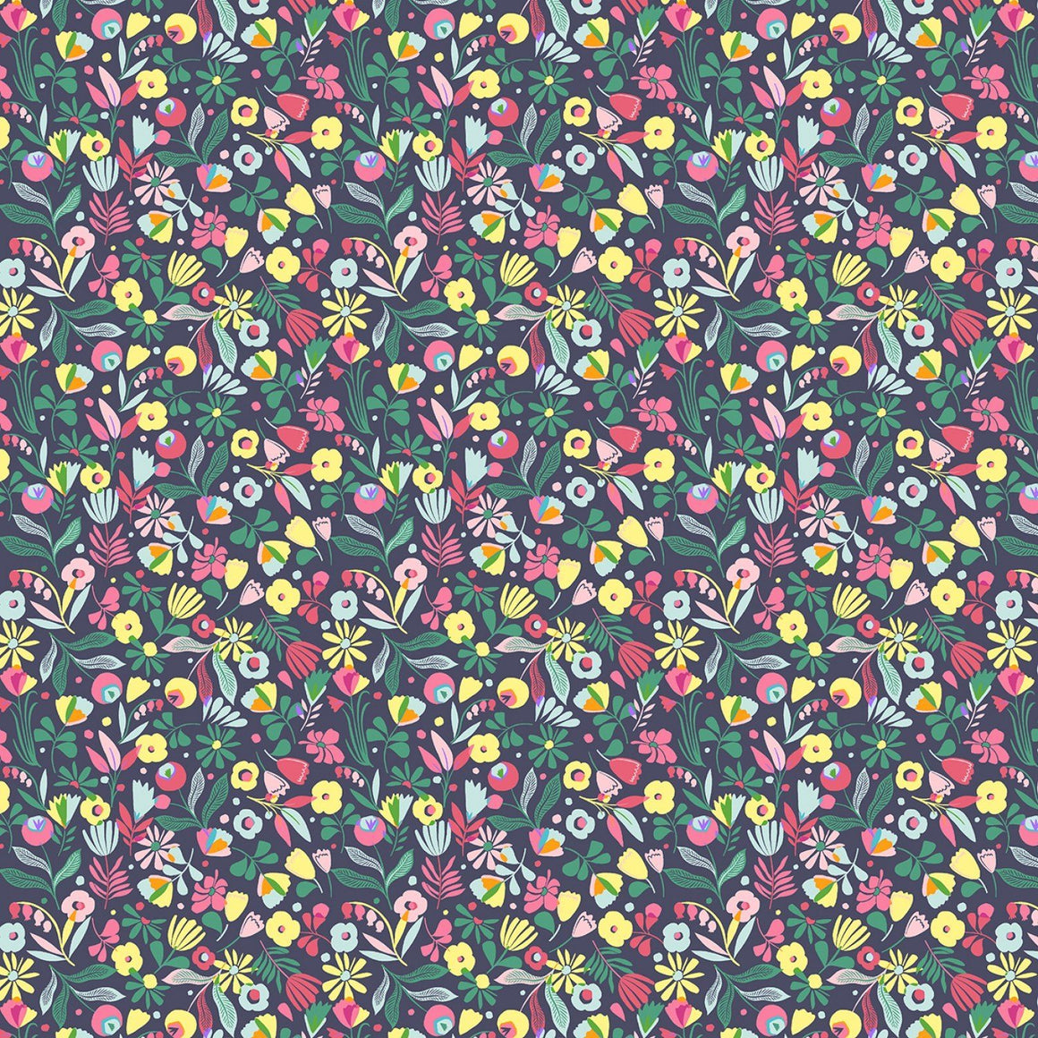 Dusty Navy Fuchsia Yellow and Green Floral Cotton Spandex Jersey Knit, Dear Stella Knits Collection - Raspberry Creek Fabrics