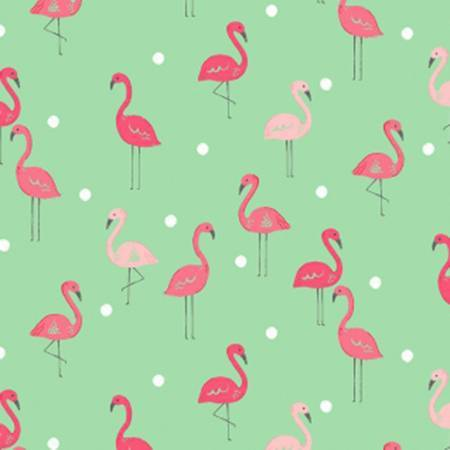 Dark Mint Salmon and Pink Flamingo Cotton Spandex Jersey Knit, Dear Stella Knits Collection, 1 yard