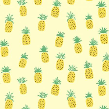 Yellow and Green Pineapple Lemon Dream Cotton Spandex Jersey Knit, Dear Stella Knits Collection, 1 yard
