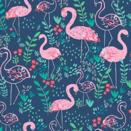 Blue Salmon and Green Flamingo Floral Cotton Spandex Jersey Knit, Dear Stella Knits Collection, 1 yard