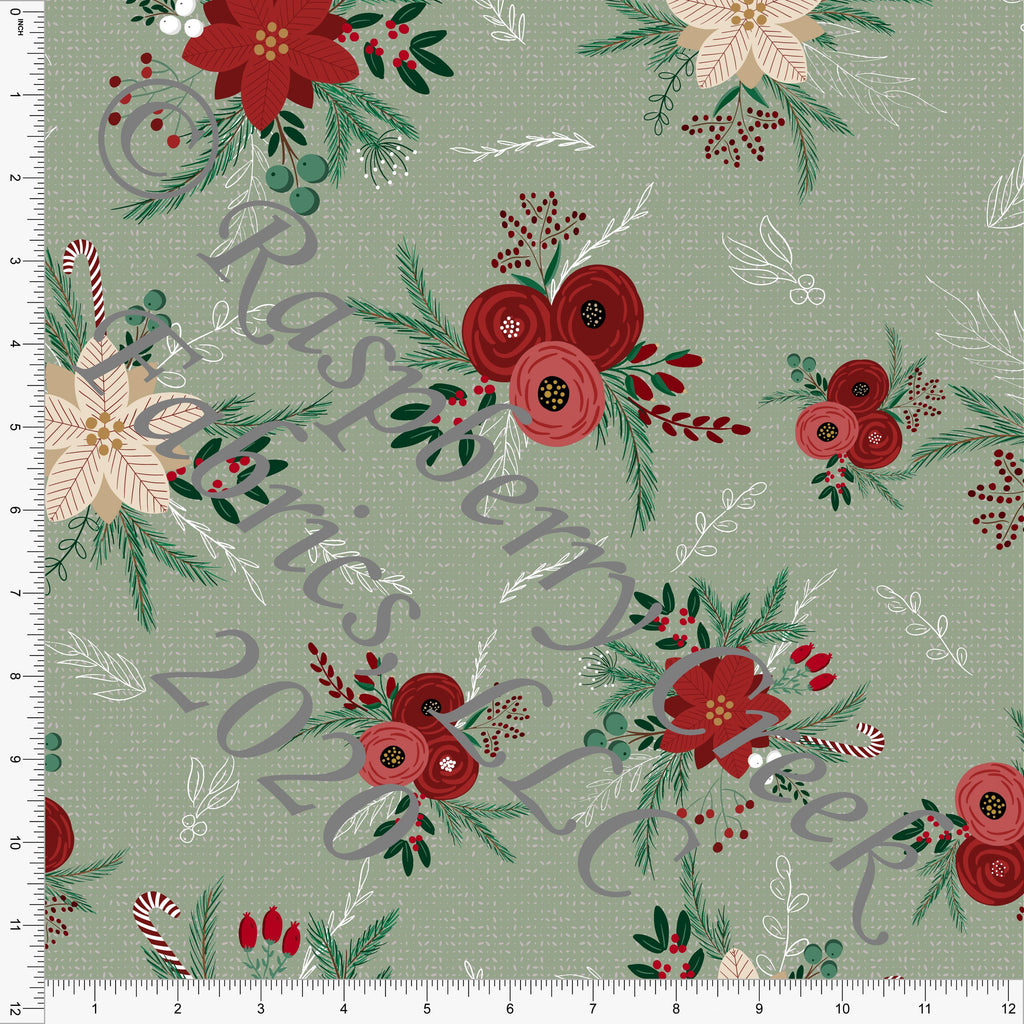 Sage Green Burgundy Red and Off White Poinsettia Floral Print Double Brushed Poly Knit Fabric, By Kelsey Shaw for CLUB Fabrics - Raspberry Creek Fabrics