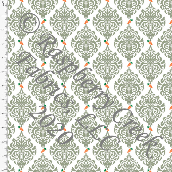 Sage White and Orange Damask Carrot Print, By Bri Powell for Club Fabrics - Raspberry Creek Fabrics