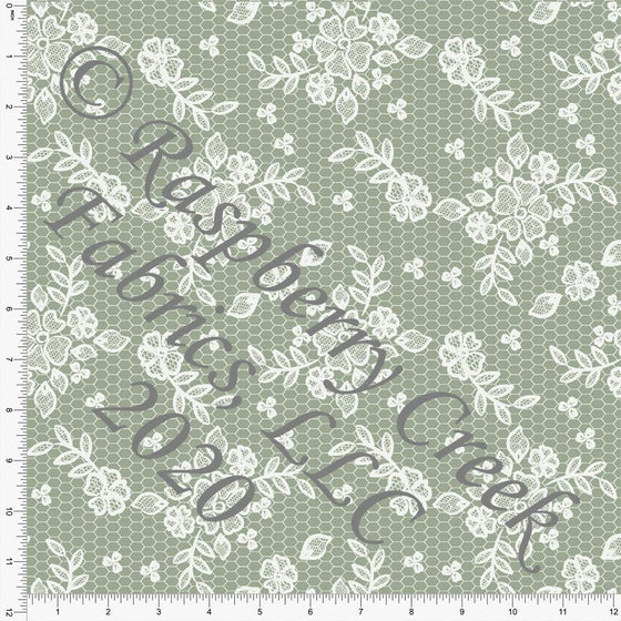 Sage Green Lace Look Print Double Brushed Poly Knit Fabric, Spring Lace for CLUB Fabrics Raspberry Creek Fabrics