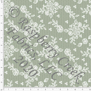 Sage Green Lace Look Print Double Brushed Poly Knit Fabric, Spring Lace for CLUB Fabrics - Raspberry Creek Fabrics Knit Fabric