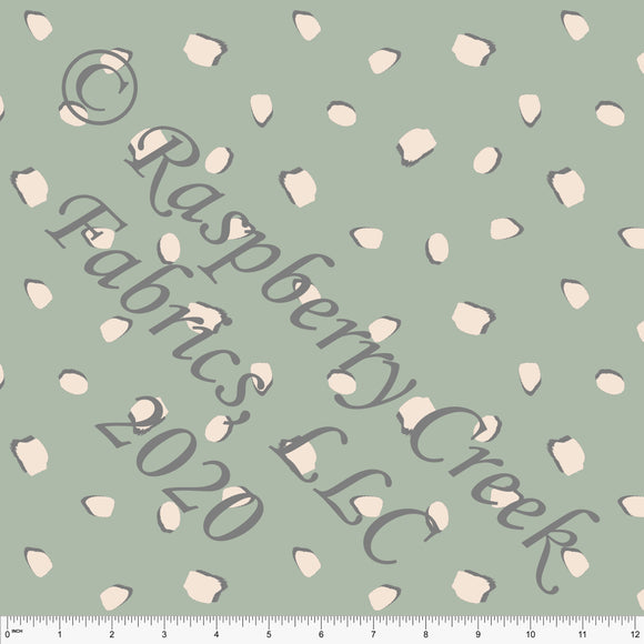 Sage Green Grey and Cream Abstract Terrazzo Print Stretch Crepe, CLUB Fabrics, 1 Yard - Raspberry Creek Fabrics