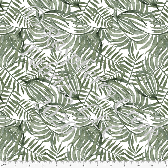 Tonal Sage Green Palm Leaf Rayon Challis, CLUB Fabrics - Raspberry Creek Fabrics