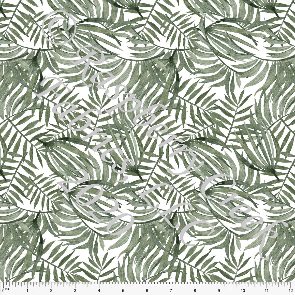 Tonal Sage Green Palm Leaf Rayon Challis, CLUB Fabrics, 1 Yard - Raspberry Creek Fabrics