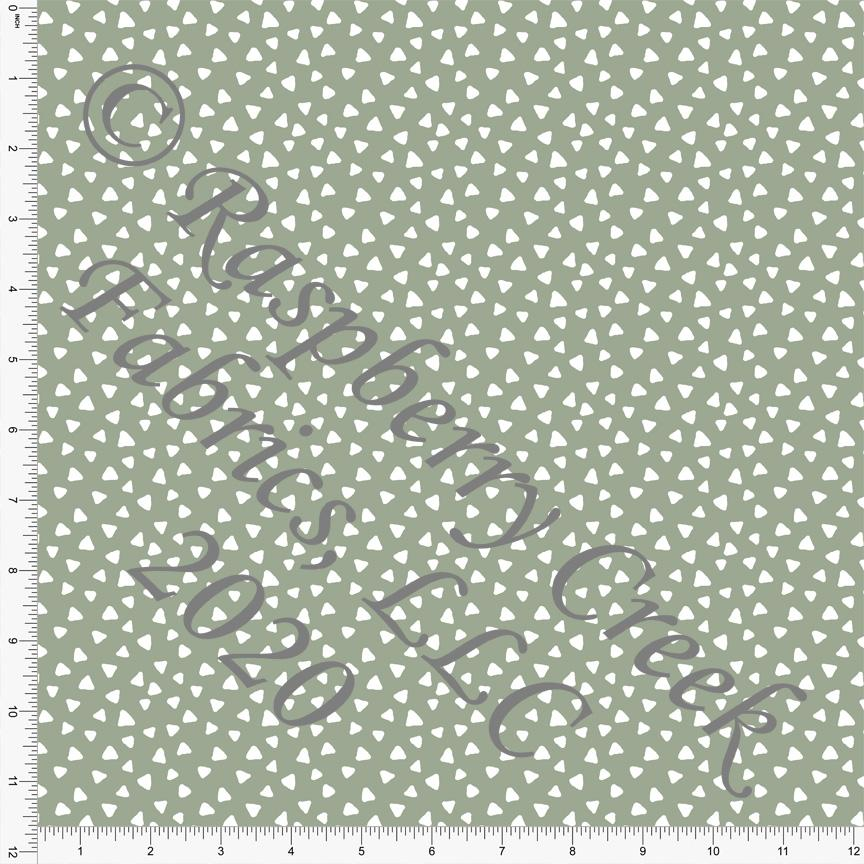 Sage Green Hand Drawn Tossed Triangle Print Double Brushed Poly Knit Fabric, Simple for CLUB Fabrics - Raspberry Creek Fabrics