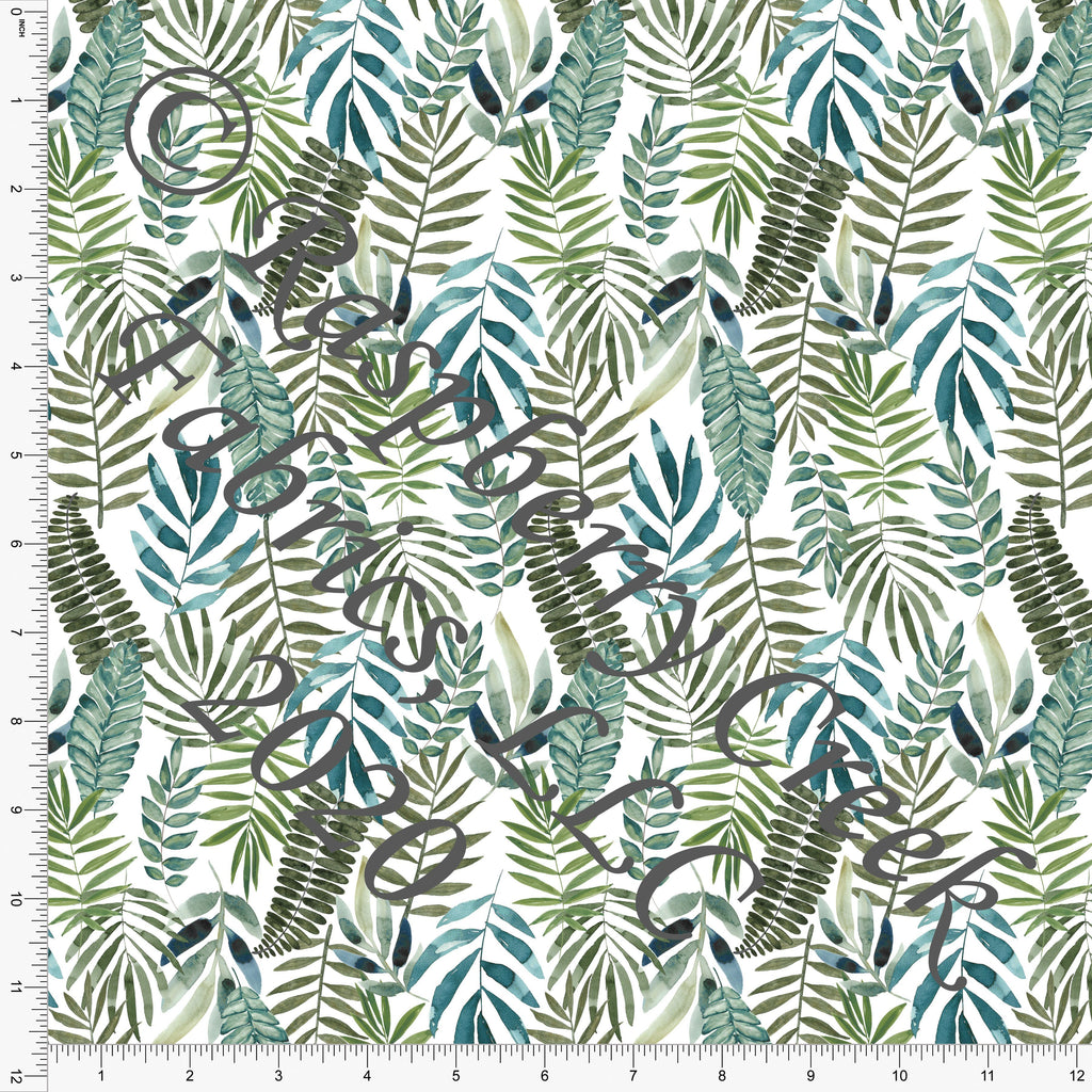 Sage Teal and Tonal Green Muted Tropical Leaves Print Double Brushed Poly Knit Fabric, CLUB Fabrics - Raspberry Creek Fabrics