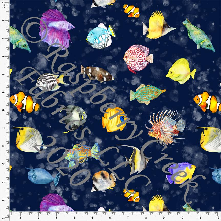 Navy Yellow Magenta Green and Grey Saltwater Fish Print, Under The Sea by Brittney Laidlaw for Club Fabrics - Raspberry Creek Fabrics Knit Fabric