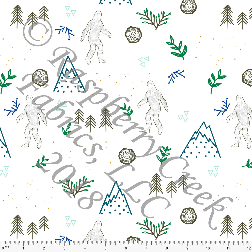 Grey Green and Royal Blue Sasquatch Mountain 4 Way Stretch Jersey Knit Fabric, Sasquatch by Kimberly Henrie for Club Fabrics