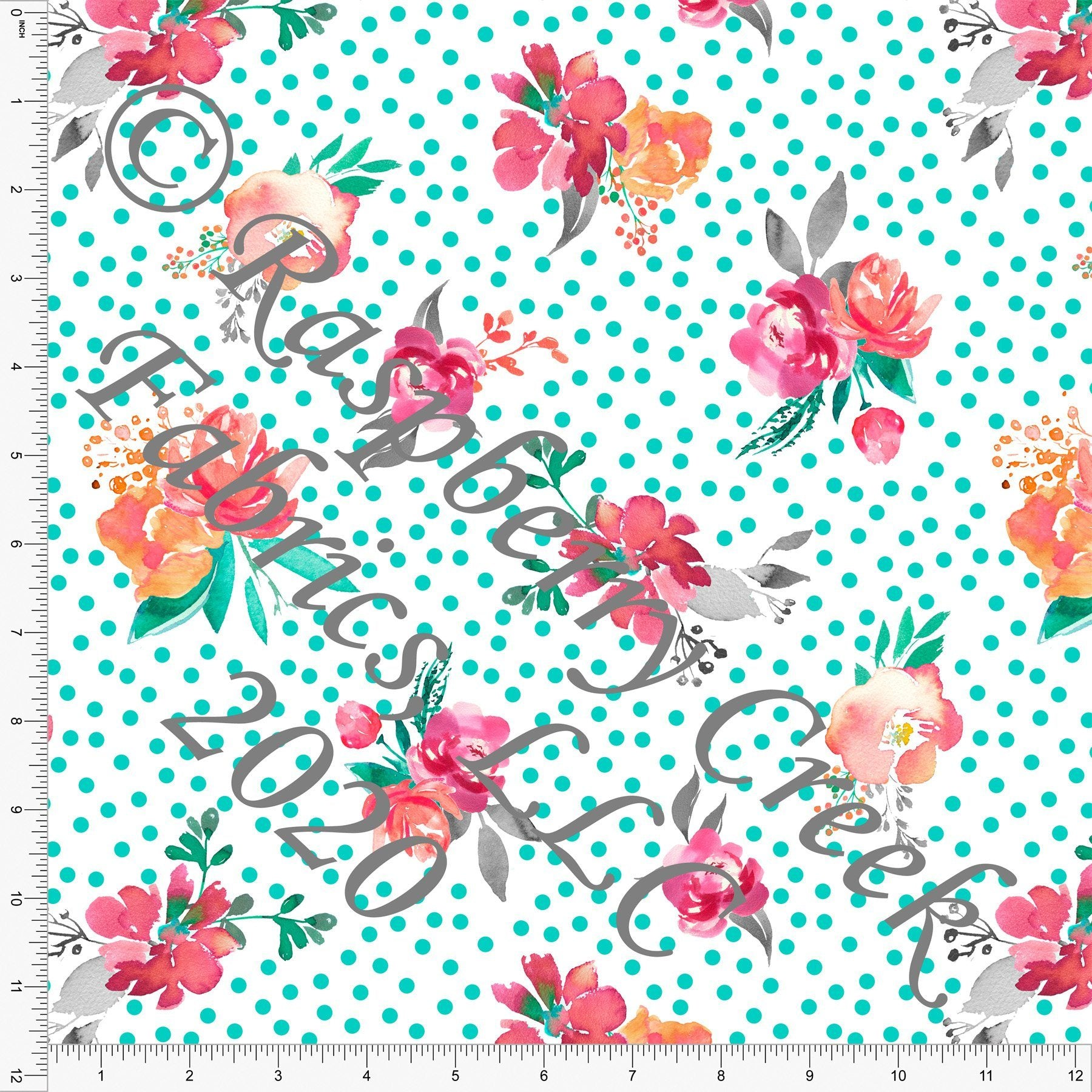 Seafoam Fuchsia Grey and Peach Polka Dot Floral, Spring Florals for Club Fabrics - Raspberry Creek Fabrics Knit Fabric