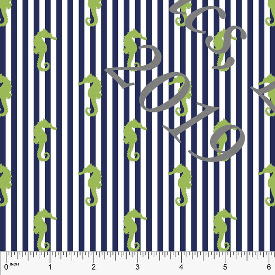 Navy Blue and Green Seahorse Vertical Pin Stripe 4 Way Stretch MATTE SWIM Knit Fabric, Club Fabrics - Raspberry Creek Fabrics