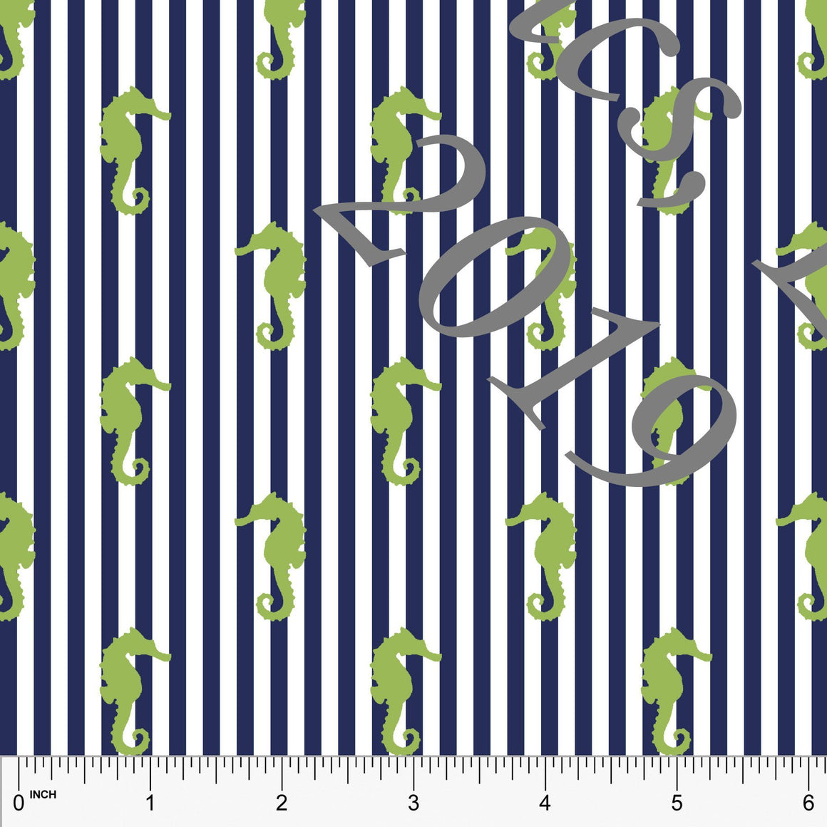 Navy Blue and Green Seahorse Vertical Pin Stripe 4 Way Stretch MATTE SWIM Knit Fabric, Club Fabrics