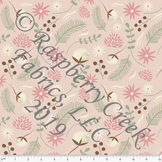 Light Blush Cream Salmon Brown and Bright Sage Sewing Floral Double Brushed Poly, By Stephani MacLeod for CLUB Fabrics - Raspberry Creek Fabrics
