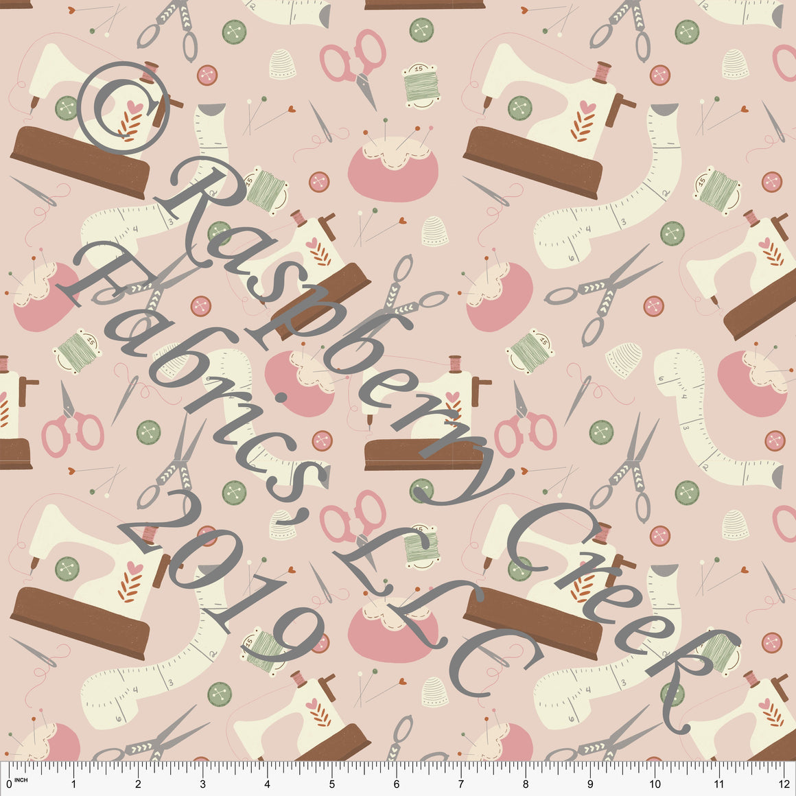 Light Blush Cream Brown Grey and Bright Sage Sewing Tossed Print 4 Way Stretch Double Brushed Poly ,By Stephani MacLeod for CLUB Fabrics - Raspberry Creek Fabrics