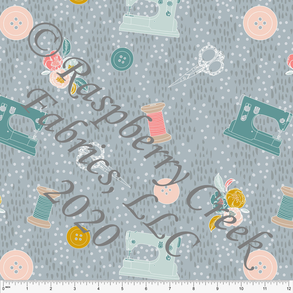 Dusty Blue Bright Teal Salmon Dusty Pink Mustard and Grey Tossed Sewing Notions Print Double Brushed Poly Knit Fabric, By Kimberly Henrie for CLUB Fabrics - Raspberry Creek Fabrics