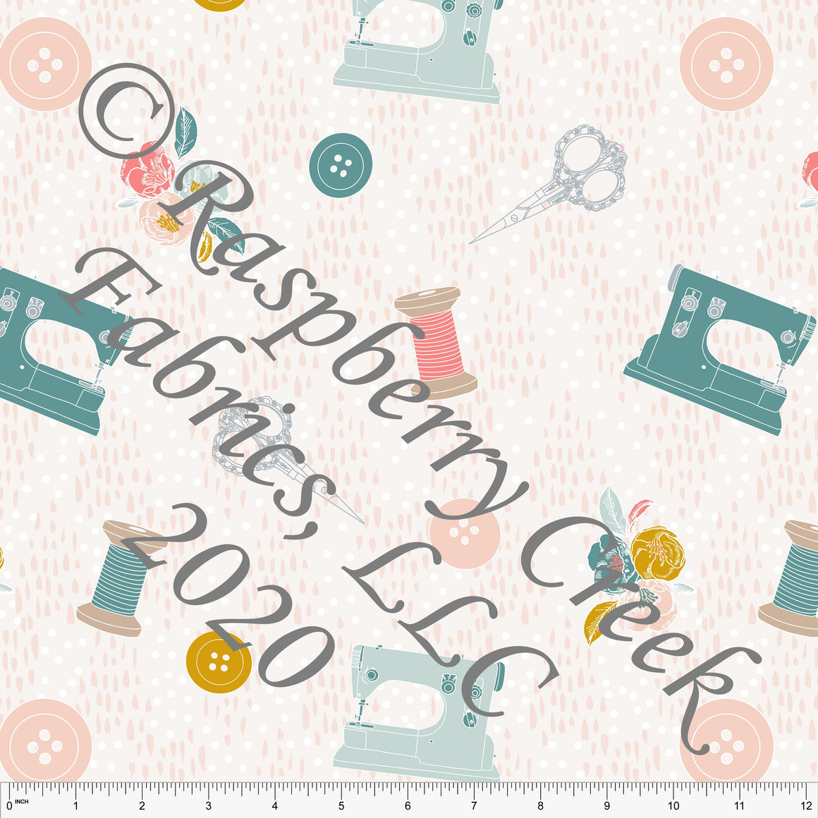 Salmon Dusty Pink Mustard Grey and Bright Teal Tossed Sewing Notions Print Double Brushed Poly Knit Fabric, By Kimberly Henrie for CLUB Fabrics - Raspberry Creek Fabrics