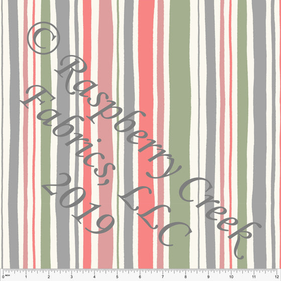 Cream Grey Salmon and Bright Sage Sewing Vertical Stripe 4 Way Stretch Double Brushed Poly, By Stephani MacLeod for CLUB Fabrics - Raspberry Creek Fabrics