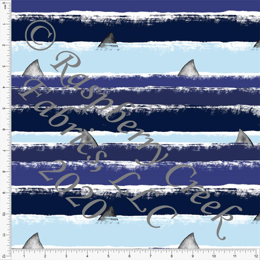 Light Blue Navy and Royal Shark Fin Stripe Print, Under The Sea by Brittney Laidlaw for Club Fabrics - Raspberry Creek Fabrics Knit Fabric