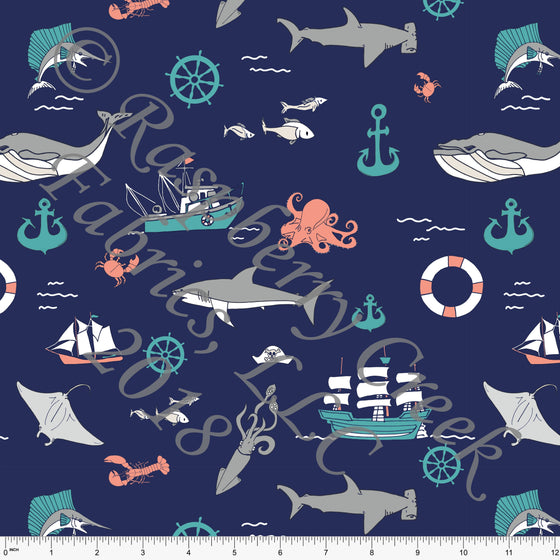 Navy Coral Teal and Grey Shark Boat Ocean Print 4 Way Stretch MATTE SWIM Knit Fabric, By Elise Peterson for Club Fabrics