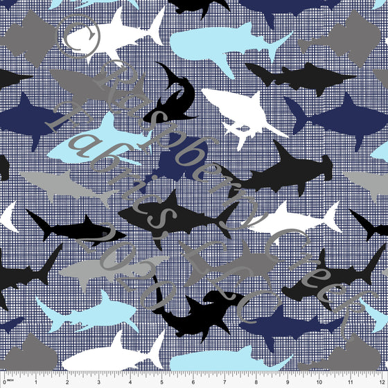 Light Blue Navy Grey Black and White Textured Shark Print By Brittney Laidlaw for Club Fabrics - Raspberry Creek Fabrics