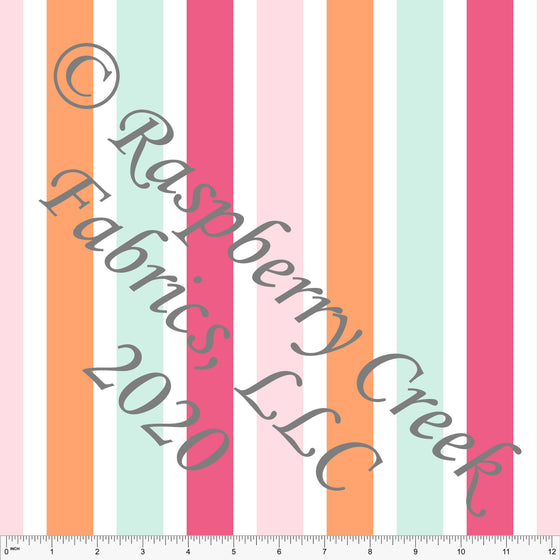 Fuchsia Pink Mint and Orange Sherbet Vertical Multi Stripe Print Double Brushed Poly Knit Fabric, By Kimberly Henrie for CLUB Fabrics - Raspberry Creek Fabrics