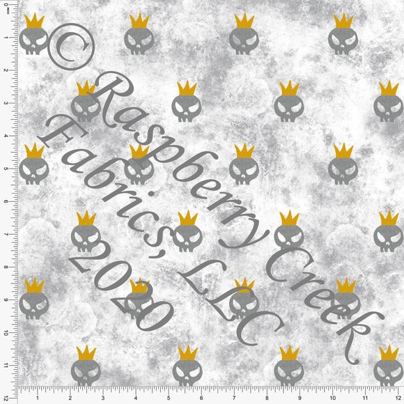 Tonal Grey and Mustard Grunge Crown Skulls, Spooky Cute By Bri Powell for Club Fabrics - Raspberry Creek Fabrics