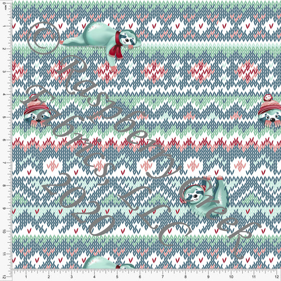 Mint Teal Red and Coral Sloth Sweater Knit Stripe Print, Whimsical Christmas By Tonya Knowlden for Club Fabrics - Raspberry Creek Fabrics