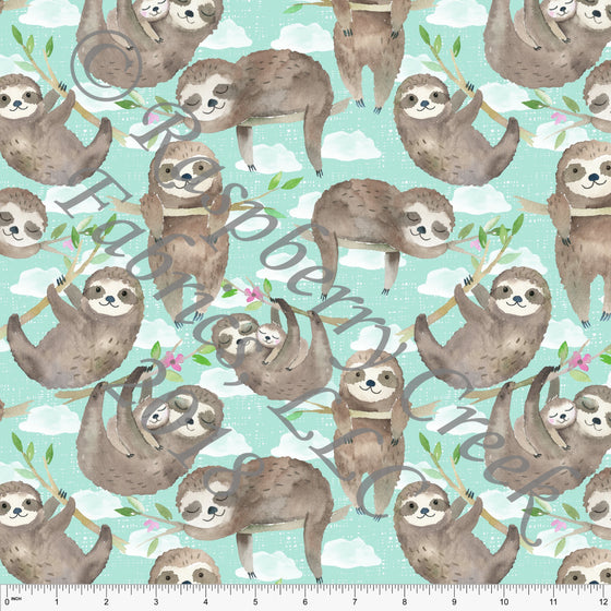 Grey Mint Brown Cream and Fuchsia Sloth 4 Way Stretch Jersey Knit Fabric, Watercolor Animals by Ella Randall for Club Fabrics