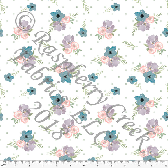 Peach Purple Bright Teal and Sage Green Polka Dot Floral 4 Way Stretch Jersey Knit Fabric, Spring Floral for Club Fabrics