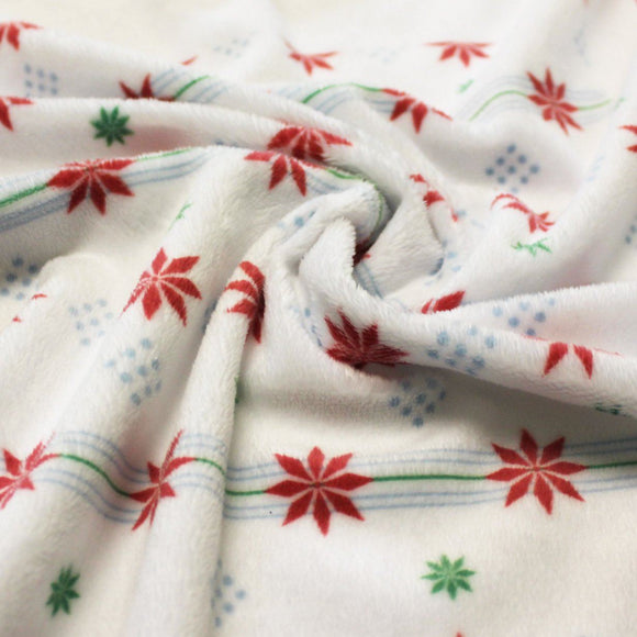 Red Green Blue and White Snowflake Stripe Minky Cuddle Fabric, By McKenzie Powell For CLUB Fabrics, 1 Yard