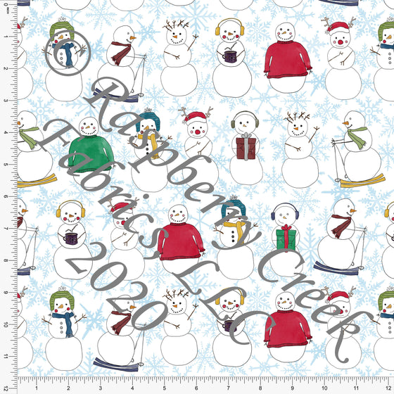 Light Blue Red Green and Mustard Snowman Snowflake Print, No So Ugly Sweater by Brittney Laidlaw for Club Fabrics - Raspberry Creek Fabrics