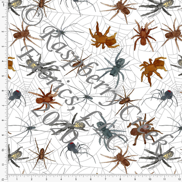 Rust Grey Red Brown and Black Spiders on Webs, Fall Into Halloween By Brittney Laidlaw for Club Fabrics - Raspberry Creek Fabrics