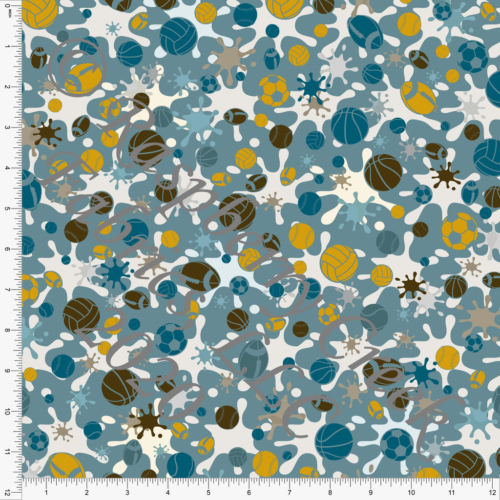 Teal Mustard and Brown Paint Splatter Sports Print Double Brushed Poly Knit Fabric, Splatter Sports by Elise Peterson for CLUB Fabrics - Raspberry Creek Fabrics