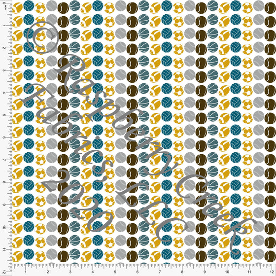 Teal Mustard Grey and Brown Sport Ball Stripe Print Double Brushed Poly Knit Fabric, Splatter Sports by Elise Peterson for CLUB Fabrics - Raspberry Creek Fabrics