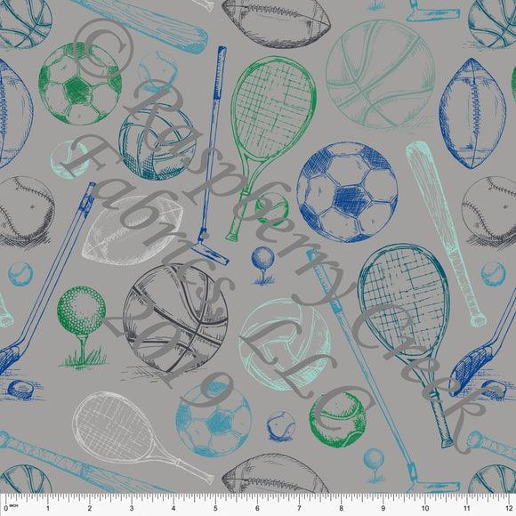 Grey Green Royal Blue and Mint Tossed Sport Ball 4 Way Stretch Double Brushed Poly Knit Fabric, Brushed Poly By Elise Peterson for CLUB Fabrics - Raspberry Creek Fabrics