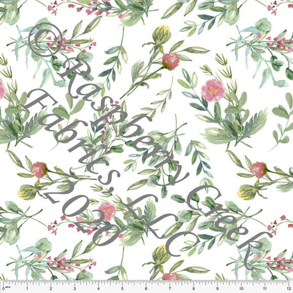 Sage Yellow and Mauve Tonal Spring Bud Floral, Club Fabrics - Raspberry Creek Fabrics