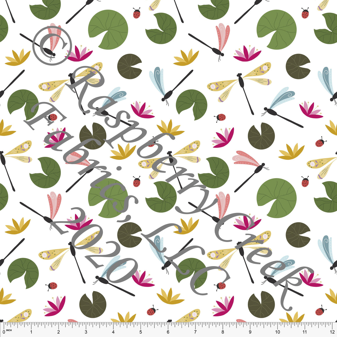 Fuchsia Green Olive Mustard and Pink Dragonflies, Spring Bugs By Stephani MacLeod for Club Fabrics - Raspberry Creek Fabrics
